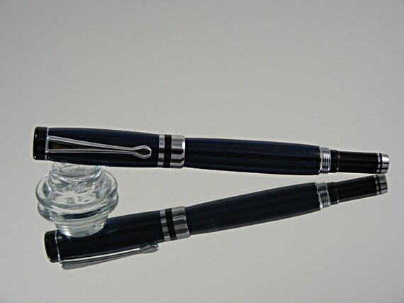 Handcrafted Classic Rollerball Ink Pen in Chrome, Black Enamel and Laminate Wood