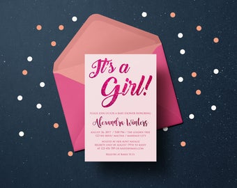 Personalized Baby Shower It's a Girl Baby Girl Glitter Hot Pink Invitation Invite Printable DIY - Digital File