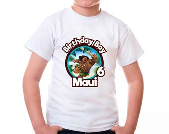 Personalized Maui of Moana Birthday Girl Party Tshirt Image Iron On Transfer For DIY