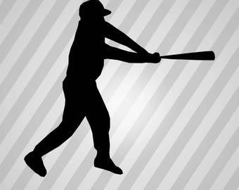 Baseball Silhouette - Svg Dxf Eps Silhouette Rld Rdworks Pdf Png Ai Files Digital Cut Vector File Svg File Cricut Laser Cut