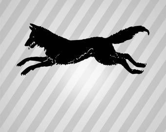 Running Wolf - Svg Dxf Eps Silhouette Rld Rdworks Pdf Png Ai Files Digital Cut Vector File Svg File Cricut Laser Cut