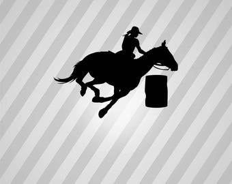 Barrel Racing Horse Silhouette Horse Racing Barrell - Svg Dxf Eps Silhouette Pdf AI Files Digital Cut Vector File Svg File Cricut Laser Cut