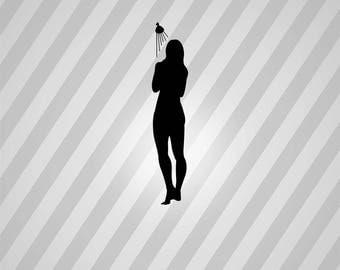 woman in shower Silhouette - Svg Dxf Eps Silhouette Rld RDWorks Pdf Png AI Files Digital Cut Vector File Svg File Cricut Laser Cut