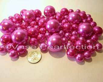 All Hot Pink Pearls/Fuchsia Pearls Vase Fillers in Jumbo and Assorted Sizes for Centerpieces