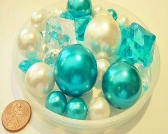 95 Turquoise Pearls/Teal Pearls and White Pearls with Matching Gem Accents in Jumbo & Assorted Sizes for Centerpieces
