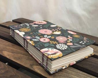 Spring dark floral coptic journal
