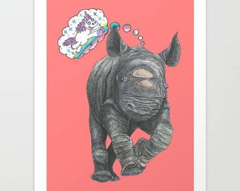 A Baby Rhino's Ontological Argument for the Existence of Unicorns - Print