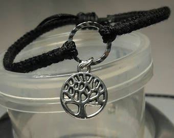 Bracelet Macrium black with ring and pendant-Tree of Life