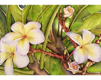 Frangipani - art print 52 x 92 cm, numbered and signed. Made from my watercolor