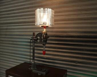 Vintage Pillar Drill-Press Steampunk Table Lamp