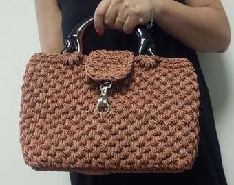 Handmade crochet handbag - Brown colors