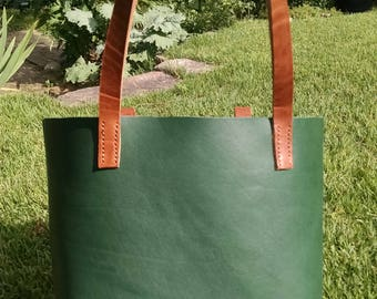 Green Full Grain Leather Bag with English Dublin Chromexcel Straps Hand Stitched Handmade Ready to Ship