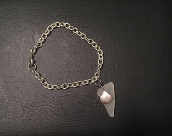 White Seaglass & Sterling Silver Sea Shell Charm Bracelet