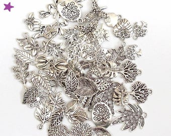 40 leaf charms from 8 to 40 mm mixed pairs: tree of life nature, silvery metal pendants