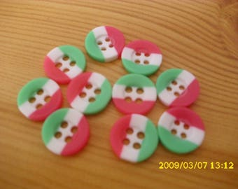 set of 10 buttons 13 mm resin