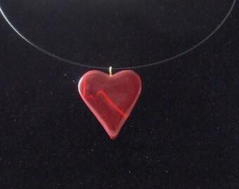 Garnet heart pendant necklace