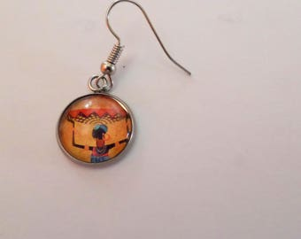 """earring, glass cabochon, """"African"""", sold to the PIECE"""