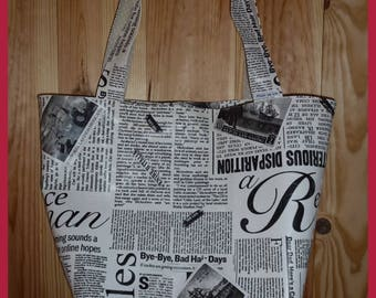 Black faux leather tote 'My Journal'