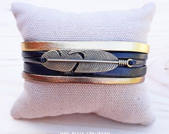 """Feather"" Golden and bronze Cuff Bracelet"
