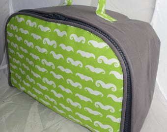 Green and gray soft suitcase