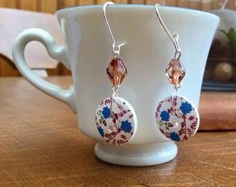 Bud earrings 2 blue flowers for pierced ears