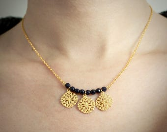 Astra necklace - gold charms - blue goldstone gemstones