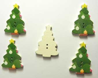 LOT 5 wood buttons: Christmas tree 25 * 35 mm (No. 06)