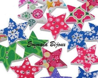 Button star wooden 25 mm x 24 mm
