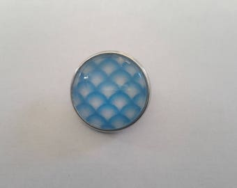 snap button 18mm abstract patterned blue glass cabochon
