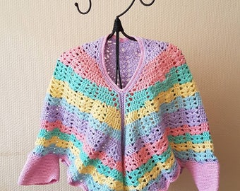 Pastel colors crocheted cape poncho