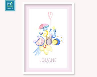 LULLABY - Table-name personalized - gift - decor kids baby room