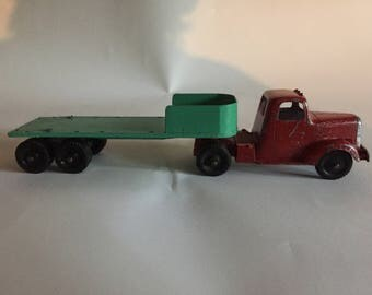 Vintage TOOTSIE TOY Tractor Trailer Semi Truck stake body -- missing the stakes