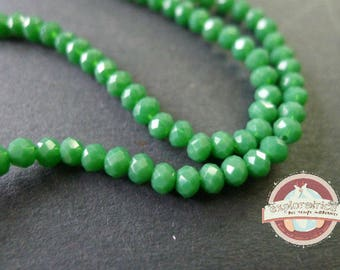 50 round faceted 2x3mm green glass beads