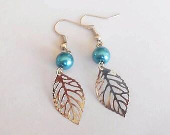 Earrings fancy beads and leaf