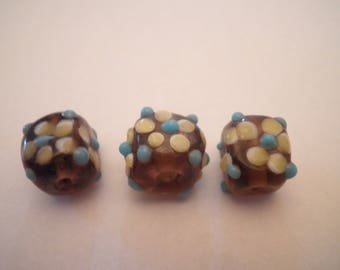 3 beads spun glass lampwork 10 x 8 mm