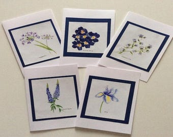 Blue watercolor flowers greeting card.
