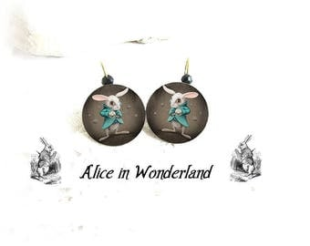 Alice in wonderland jewelry, The white rabbit, Alice in wonderland rabbit earrings, hand-made bronze jewelry, tea party