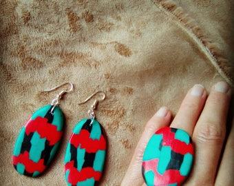 "All ring and earrings ""Népal"" #bijouxoriginaux #cadeaufemmesaintvalentin #parurebijoux #earringshandmade #handmadejewels"