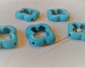 Lot 5 ethnic beads - flower Turquoise beads in the world