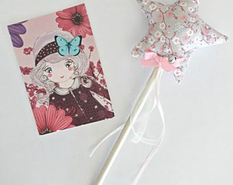 Two-tone fairy star wand / grey/with Bell in STOCK pink cherry blossom