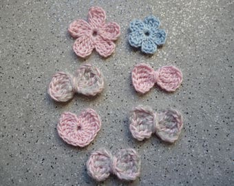 7 flowers, hearts and bows crochet handmade
