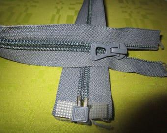 dark paper colored gray nylon zip