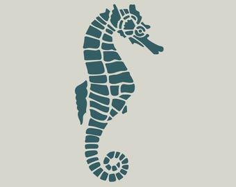 Adhesive vinyl stencil. Seahorse. Stenciled seahorse. (ref 70)