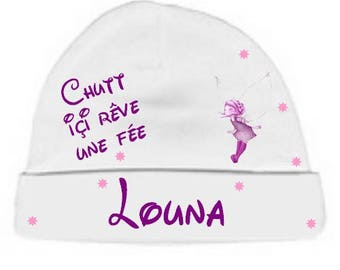 Baby Beanie white Shsh here dream fairy personalized with name
