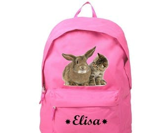 Backpack pink cat and rabbit personalized with name