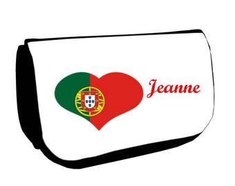 Cosmetic case Black /crayons Portugal personalized with name