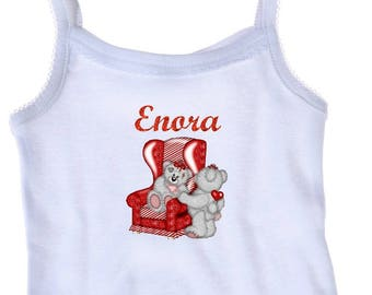 Tank top white girl Teddy bear personalized with name