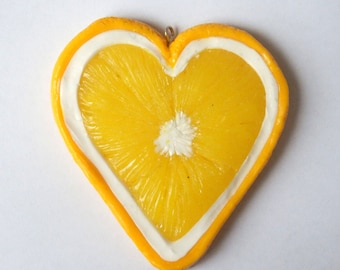 Lemon slice heart pendant, polymer clay