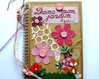 """wrecked, embroidery and flowers book: """"in my garden..."""".  Diary, notebook, handmade"""