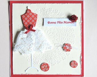 scrapbooking card, mothers day, lace and rose red. Hand made